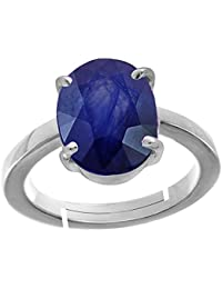 4.00-11.00 Ct. Blue Sapphire/Neelam Stone Silver Adjustable Ring For Women By AKSHAY GEMS