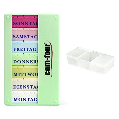 com-four® Medikamentendosierer 7 Tage - Medikamenten-Box (Morgens, Mittags, Abends) - Pillendose - Tablettendose - Wochendosierer + Pillendose mit 3 Fächern (01 Stück - Mint mit Zubehör)