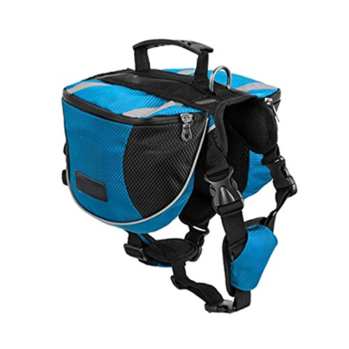 Yiiquanan Hund Rucksack Verstellbar Pack Mittelgroße & Large Hunderucksack für Wandern Camping Reise (Blau#2, Asia L)