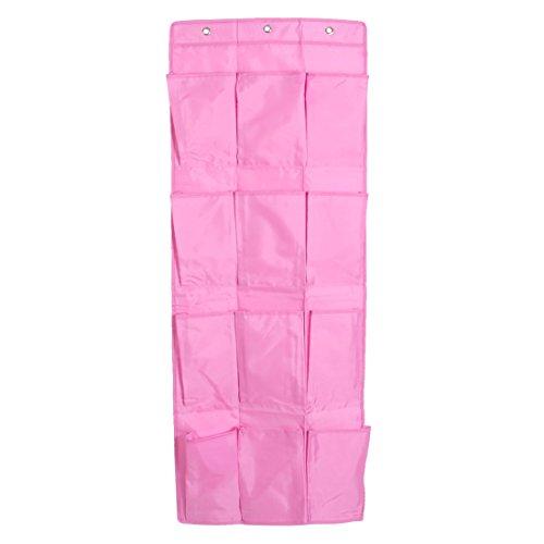 sourcingmap® Oxford Tuch 12 Taschen Tür hängende Schuhe Veranstalter Regal Tasche Rosa DE de