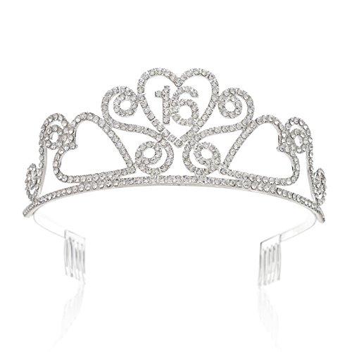 SWEETV Espumoso Quinceanera Aniversario Cumpleaños Tiara Diadema Rhinestone Fiesta Corona, 16 Dieciséis