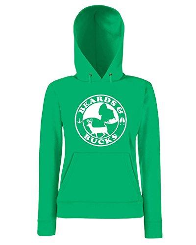 T-Shirtshock - Sweatshirt a capuche Femme FUN0725 beards and bucks vinyl hunting car decal 32758 Vert