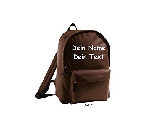 Shirtstown Unisex Rucksack individuell mit deinem Wunschtext versehen braun