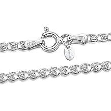 4fff95eacaa0 Amberta® Joyería - Collar - Fina Plata De Ley 925 - Cadena de Corazón -