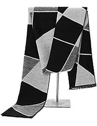 e8ba44b3575d Relddd Echarpes Hommes Écharpe Automne Hiver géométrique à Longue portée  Thermique Molleton de Soie de