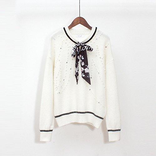 Gestrickte Frauen Bottom Shirt Pullover für Winter Loose Ribbon Bow Womenswear, weiß, eine Größe