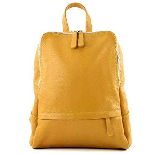modamoda.de–Zaino in pelle di lavorazione italiana, da donna, T138 giallo senape