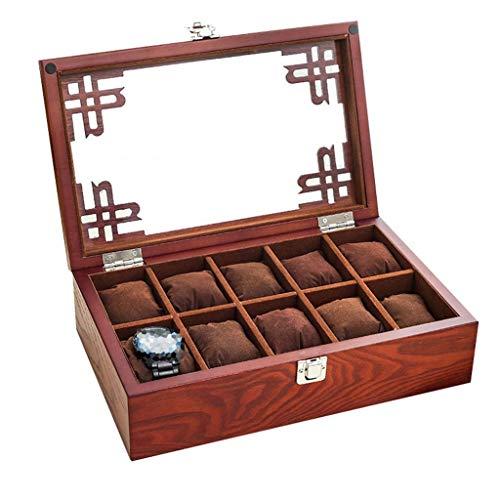 LOKKR 10 Plaid Watch Storage Box Retro Watch Cassa in Legno da Uomo/da Uomo con Coperchio in Vetro/Chiusura a Lucchetto per Gioielli, Collezione di espositori