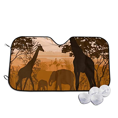 Rterss Nature con jirafa salvaje elefante flamenco parabrisas personalizado parasol visor de vidrio frontal evita que el coche se calienta en el interior