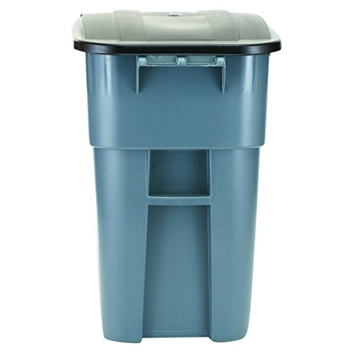 Rubbermaid Commercial 50gal BRUTE HDPE Rectangular Rollout Trash Can with Lid - Grey