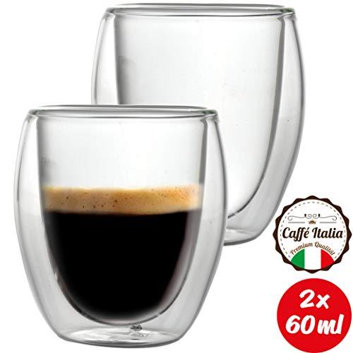 Caffé Italia Roma 2 x Tasse Double Paroi 60 ML - Tasse Expresso 8 cl - Espresso en Verre - Coffret de 2 Tasses à Café Double Paroi - Cadeau Parfait pour Toute Occasion