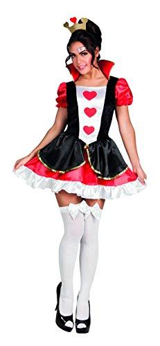 Herzen Kostüm Damen Womens, Rot/Schwarz/Weiß, M, 83857. (Königin Der Herzen Kostüme Für Erwachsene)