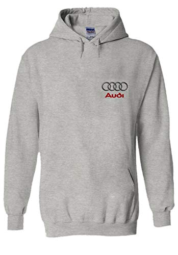 Audi Logo S R8 Line Pocket Print Novelty Grey Men Women Unisex Hooded Sweatshirt Hoodie-XXL