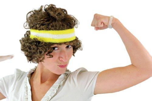 WIG ME UP ® - VZ-020-P8 Perücke Damen/ Herren Locken braun Axel Römer Griechischer Gott 80er Retro Tennisspieler