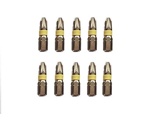 Jjw-germany 10pezzi phillips professionale punte pozidriv pz 3x 25mm, in acciaio speciale antiurto, nichelato