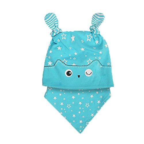 """Xshuai Baby-Mädchen-Jungen-2PCS gesetztes Hut + Bandana-Lätzchen-Speichel-Tuch-Kopf-Schal-nette Art und Weise für 6 ~ 24 Monate (17.7""""-20.1"""", Blau) (Mädchen Carters 3 Stück Kleinkind)"""
