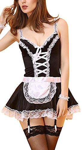 Sodhue Weiblich Leichtes Dienstmädchen Kostüm Schwarz und weiß Erwachsenenalter Damenbekleidung Anime Bequem Schön Süß Klassisch Weich Spiel (Klassischen Weiblichen Kostüm)