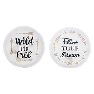MC-Trend 2er Set Handwärmer Taschenwärmer mit Sprüchen – Follow Your Dreams – Wild and Free – für warme Finger gegen kalte Hände im Herbst und Winter, wiederverwendbar