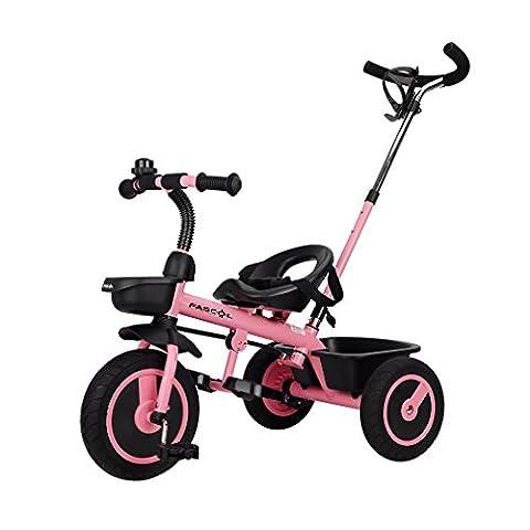 Fascol Tricycle Vélo 3 Roues Poussette Evolutif pour Enfant Bébé 1.5 à 5 Ans Charge 30 kg, Rose