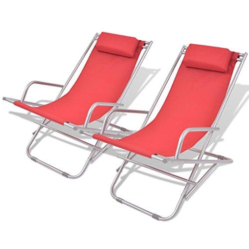 Festnight 2 pz sedie a sdraio pieghevole portatile con cuscino in tessuto e acciaio da giardino da campeggio per esterno 69x61x94 cm