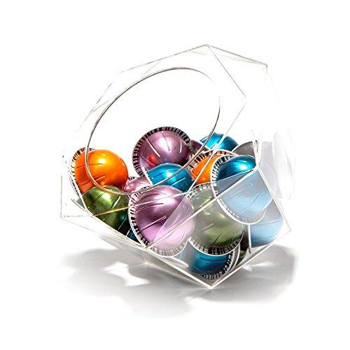 Nespresso VertuoLine hexagonal-cápsula soporte para cápsulas, De plexiglás transparente dispensador, solución de almacenamiento para máquinas Nespresso y Keurig K-CUPS-para 40Cápsulas