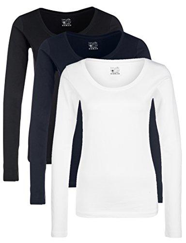 Berydale Damen für Sport & Freizeit, Rundhalsausschnitt Langarmshirt, 3er Pack, Mehrfarbig (Schwarz/Weiß/Navy), X-Large