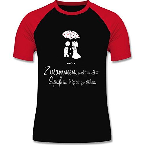 Romantisch - Zusammen - macht es Spaß im Regen zu stehen - zweifarbiges Baseballshirt für Männer Schwarz/Rot