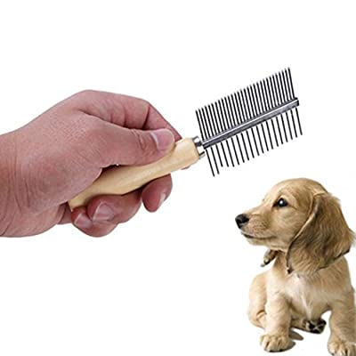 Brussels08 Pet Dog Cat Double Sided Metal Row Teeth Brush Massaging Grooming Hair Comb Rake Removes Tangles, Knots, Loose Fur and Dirt for Dogs and Cats by Brussels08