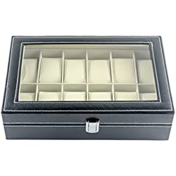 Feibrand Faux Leather Watch Box 12 Grids
