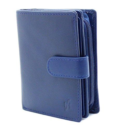 StarHide® Damen Echtes Leder Brieftasche Geldbörse Mit Seitlich Gesicherte Reißverschluss Münze Tasche & ID-Karte Fenster, Kommt Präsentiert In Einem Geschenkbox #5530 (Blau) -