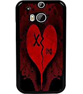 ColourCraft Broken Heart Design Back Case Cover for HTC ONE M8