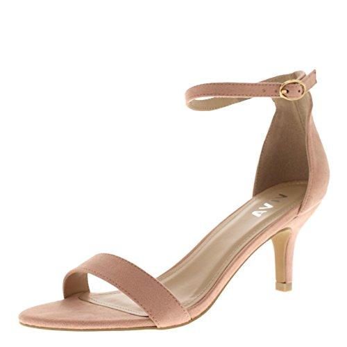 Mujer Bajo Gatito Talón Correa de Tobillo Ante Oficina Trabajo Noche Sandalia Zapatos - Rosado KL0341D...