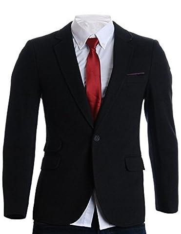 FLATSEVEN Mens Slim Fit Winter Wool Blends Premium Blazer Jacket (BJ207) Black, M