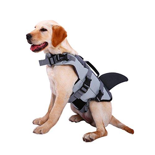 Pekki Hunde Schwimmweste Größe verstellbar, mit Lifesaver safery Weste (XL, Grau)