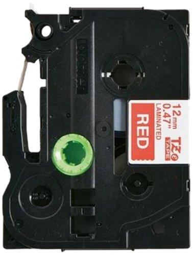 Brother TZe435 Nastro Etichetta Laminato da 8 m x 12 mm, Rosso/Bianco