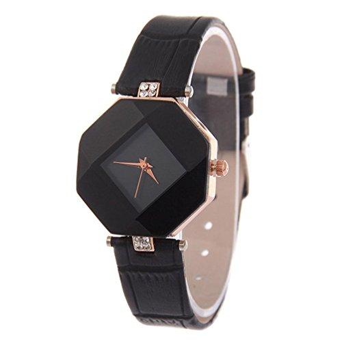 Valentinstag Uhren Dellin Mode Strass Armbanduhr Damen Kleid Uhr Quarzuhr (Schwarz)