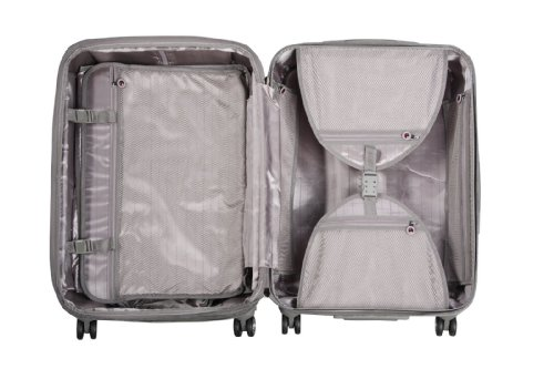 ... 50% SALE ... PREMIUM DESIGNER Hartschalen Koffer - Heys Crown Elite X Silber - Trolley mit 4 Rollen Medium Silber