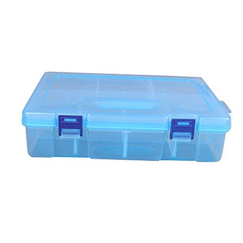 Sulifor Transparente Doppelschicht 16-Raster-Aufbewahrungsbox, Aufbewahrungsbox Container Pille Schmuck Nail Art 16 Raster Doppelschicht