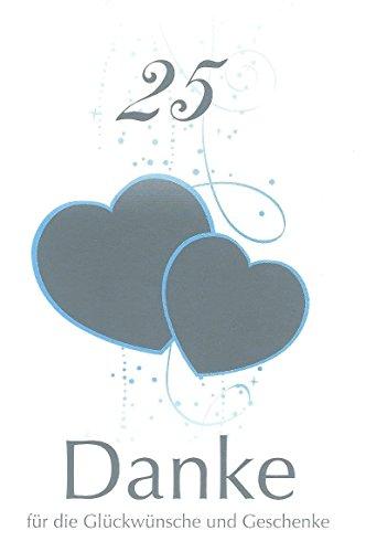 Danksagungskarten Silberhochzeit ohne Innentext Motiv silberne Herzen 20 Klappkarten DIN A6 mit weißen Umschlägen (K40)