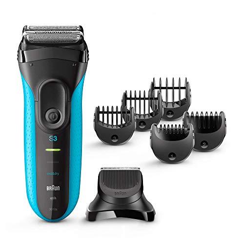 Braun Series 3 3010BT Elektrorasierer - elektrischer Herren Rasierer für Rasur, Trimmen und Konturieren, schwarz/blau