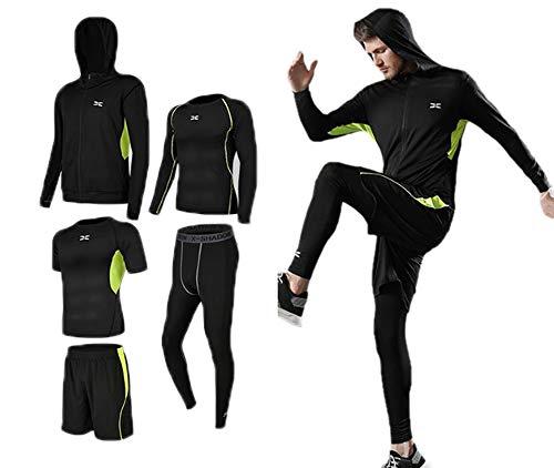 keephen Fitness Anzug Set, Herren 5 Stück Laufanzug Gym Outfit Workout Sportbekleidung Trainingsset