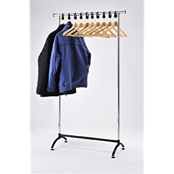 RACK51 Chrome Coat Stand. Office Coat Rack With Wooden Hangers