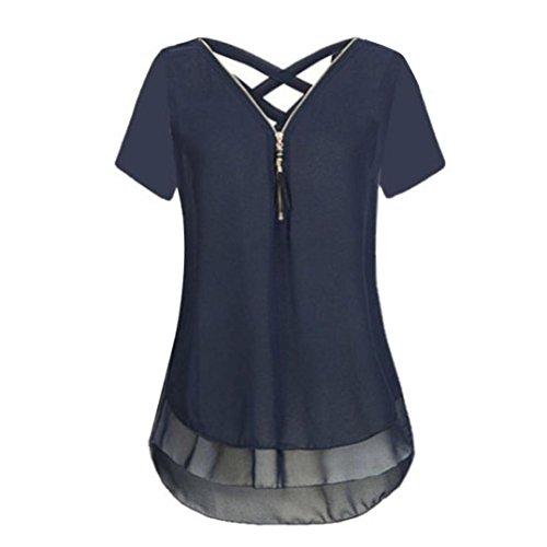 rschluss Tank Crop Tops Vest Tanktops Weste Cami DOLDOA Oberteile T-Shirt Geburtstags Geschenk Für Frauen Mädchen Freundin (EU:40, Marine - 7) (Kostüme Mit Schwarzen Kleid Shirt)