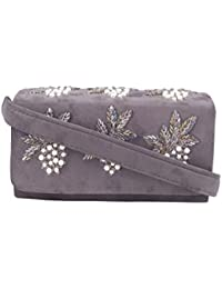 TARUSA Grey Suede Embroidered Motif Sling Bag For Women