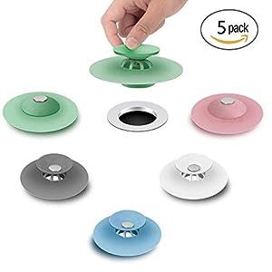 FUNNY HOUSE 5 Pcs Tapón de Drenaje de Silicona,Tapón de Goma Universal Tapones de Desagüe para Cocina Baño Bañera…
