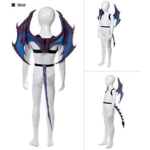 enflügel Set -Kinder Fantasy Halloween Dinosaurio Drachen Kostüm Kind Tier Maske Flügel Schwanz Zubehör ()