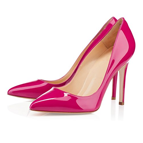 EDEFS Klassische Damenschuhe Pumps Stiletto 10cm Absatzhöhe Slip On Geschlossen Schuhe Rose