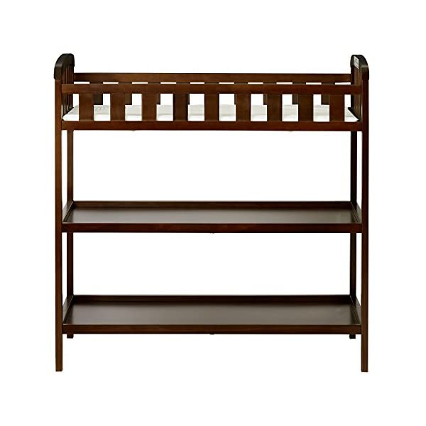"Dream On Me Emily Changing Table, Espresso Dream On Me 1 inch changing pad 5 1/2"""" safety rail.Dimensions  36.5L x 20W x 39H inches 2 shelves below; Weight:19.5lbs 2"