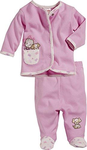 Schnizler Baby - Mädchen Jogginganzug Mädchen und Hündchen, 2-teilig Sweatjacke und Strampelhose, Oeko-Tex Standard 100