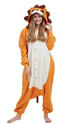 DELEY Unisex Erwachsene Tieroutfit Pyjamas Schlafanzug Cosplay Verkleiden Kostüme OneSize Jumpsuit Tierkostüme Lion Größe L (Einfach Lion Kostüm Frauen)